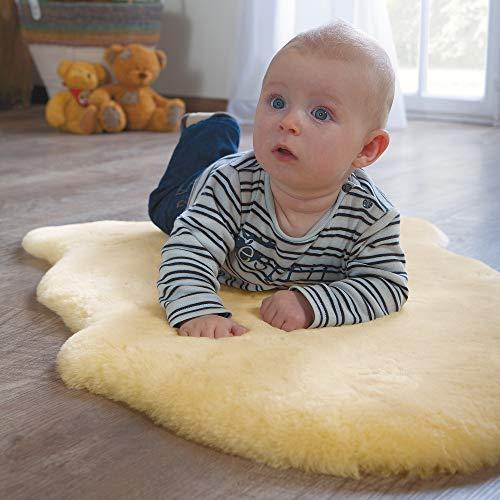 Ibena Baby-Lammfell Pakarno, 100% natürlich, Farbe grau, kuscheliges Baby-Fell, Größe 60-70cm