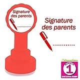 Signature des parents - Tampons Encreur pour Enseignants. Auto-encreur (Rouge), Réencrable.