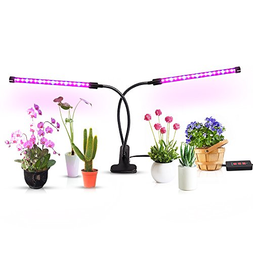 flanze Wachsen Licht, 36 LED Chips mit rot/blau Spektrum für Zimmerpflanzen, Einstellbare Schwanenhals, 3/6 / 12H Timer, 5 dimmbare Ebenen [2018 Upgraded] ()