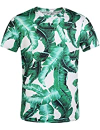 SSLR Men's Banana Leaves Hawaiian Short Sleeve Casual T Shirt
