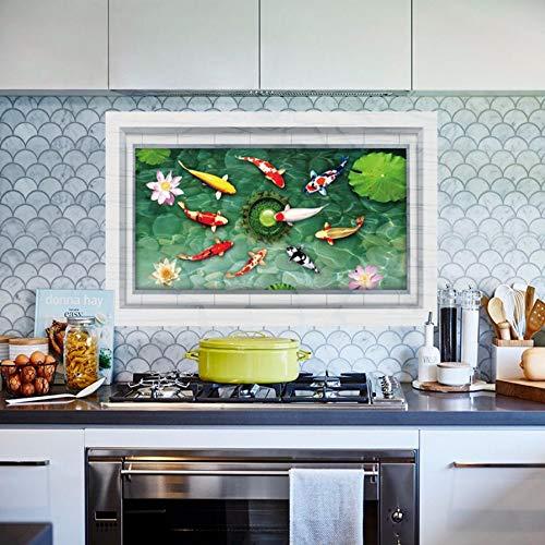 Qwerlp Lotus Teichboden Aufkleber 3D Stereo Gold Fisch Pool Dekoration Für Badezimmer Wohnzimmer Gund Dekoration Teich Wandaufkleber