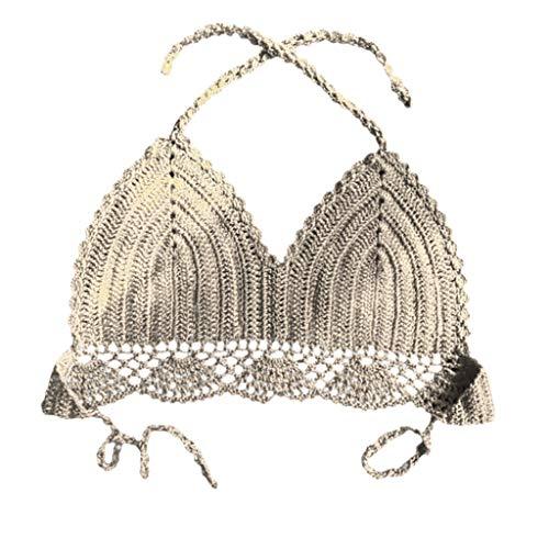 KUDICO Damen Badeanzug Zweiteiler Bademode Lace-Up Halfter Strick Bandeau Bikini Set Beachwear(Khaki, L)