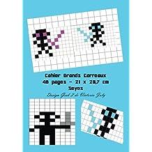 Cahier Grands Carreaux  48 pages 21x 29,7 cm: Interieur Seyes Ecole - Couverture Brillante Design Geek 2