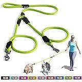 Pawtitas Haustier training weiche, verstellbare, reflektierende Welpen-/Hundeleine für zwei Hunde. Mittel / Groß (Medium / Large) Grün
