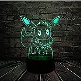 LXD Lampada da comodino in acrilico per uso domestico 3D Lampada da comodino in piombo 3D Pokemon Go Gioco Figura Eevee Interessante colorato acrilico Tablet Night Light Toys