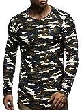 LEIF NELSON Herren Hoodie Pullover Longsleeve Oversize Sweatshirt Rundhals Auschnitt Hoody Sweatshirt Sweater LN6298 S-XXL; Größe L, Camouflage