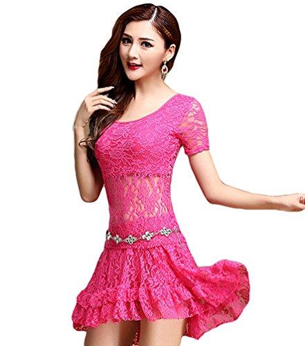 Kostüm Moderne Tanz Indische - YiJee Damen Spitzen Bauchtanz Kostüm Indischer Tanz Tops Bauchtanz Mini Rock Rose L