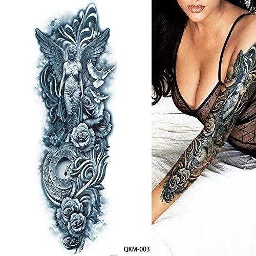 Tzxdbh 48 * 17cm larrge blu antico bellezza guerriero rosa orologio temporaneo braccio completo tatuaggio falso adesivo a buon mercato roba tribale