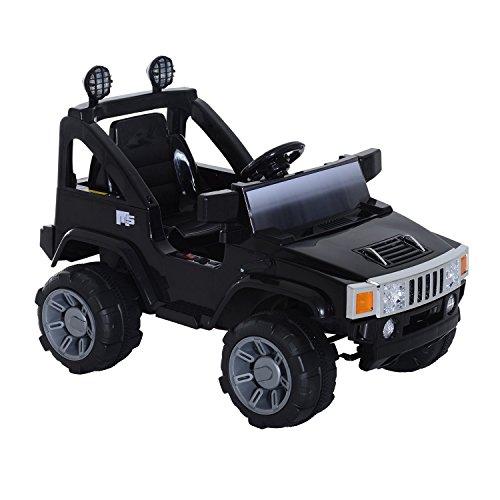 HOMCOM Elektroauto Kinderauto Kinderfahrzeug Kinder Elektro Auto Fahrzeug Spielzeug (SUV-Jeep/Schwarz)