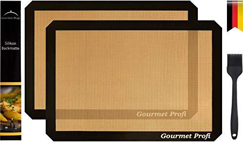 Gourmet Profi Premium Silikon Backmatten 2er Set Gold/schwarz 42x30cm extra dick 0,7mm + Silikon Backpinsel - Dauer Backunterlage - Wiederverwendbar Backfolie - Ausrollmatte Teigmatte Teigunterlage