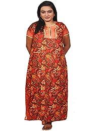 AISNIGHA Womens red Print Cotton Nighty 5060