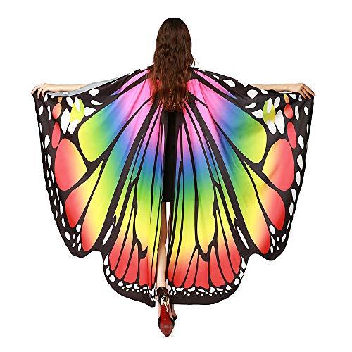 erling Kostüm Schmetterling Schal Flügel Tuch Schmetterlingsflügel Erwachsene Poncho Umhang für Party Weihnachten Kostüm Cosplay Karneval Fasching(168 * 135cm) ()