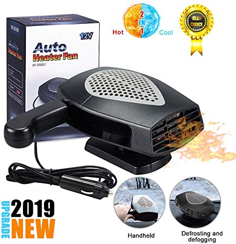 Portable Car Heater,?2019 New Upgrade?Auto Heater Fan,Car Windshield Defogger Defroster,2 in1 Fast Heating or Cooling Fan,12V 150W Auto Ceramic Heater Fan 3-Outlet Plug in Cig Lighter (Black+Gray)