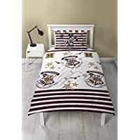 Harry Potter Duvet Cover with Matching Pillow Case, Microfibre, White, Single