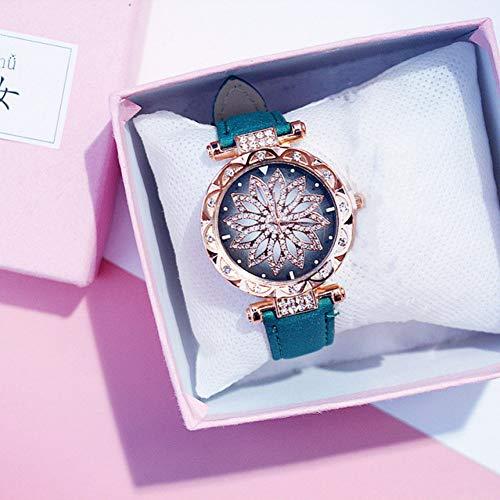 FVNRDS Damen Armbanduhr Frauen Uhren Mode Diamant Rose Gold Uhr Damen Sternenhimmel Armbanduhr Casual Lederband Uhr, grüne Farbe