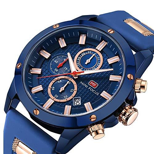FOVICN Herren Uhr Analog Quarz mit Silikon Armband 089G-B