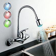 Homelavafans Grifo Cocina Monomando de Pared con LED de Color Giratorio 360° Grifo para Agua Caliente y Fría -Cromado