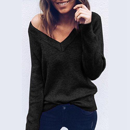Femme Pull à Manche Longue Chic Hiver Top Femme Haut Casual Sexy Col V Blouse Mode Automne Hiver Noir