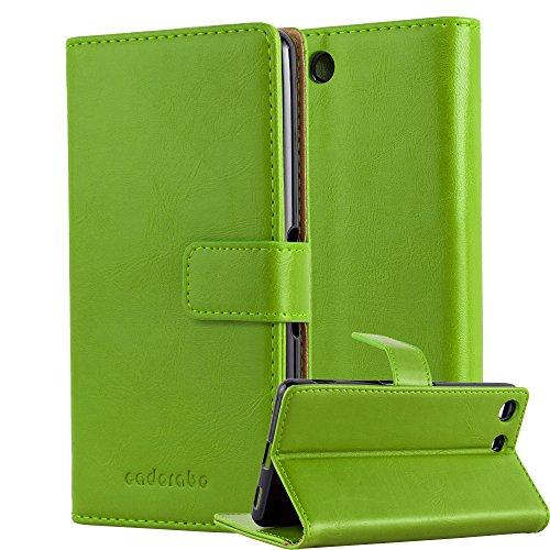 Cadorabo Hülle für Sony Xperia M5 - Hülle in Gras GRÜN - Handyhülle im Luxury Design mit Kartenfach & Standfunktion - Case Cover Schutzhülle Etui Tasche Book