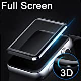 Ikazen Apple Watch 38 mm (Series 3/2/1 Compatible) Tempered Glass Screen Protector 3D Curved Edge 9H Hardness (Black)