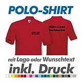Polo Shirt, rot, Fruit of the Loom, inkl. Ihrem Wunschtext / Logo Druck Werbedruck