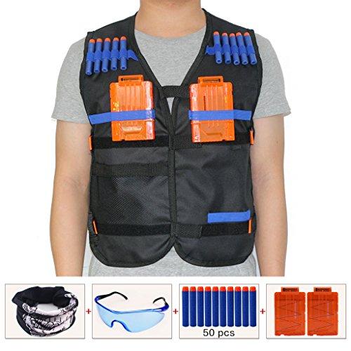 HONGCI Kinder Schwarz Taktische Weste Jacke Kit für Nerf Gun N-Strike Elite Series Sniper (kommt mit Gesichtsmaske + Schutzbrille + 50er 7.2cm Pfeile Nachfüllpack + 2er Magazin für 5-Pfeile)
