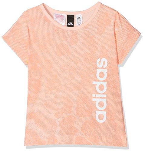 adidas YG Linear P Tee Shirt, Mädchen XS Mehrfarbig (corneb/Orange/weiß)