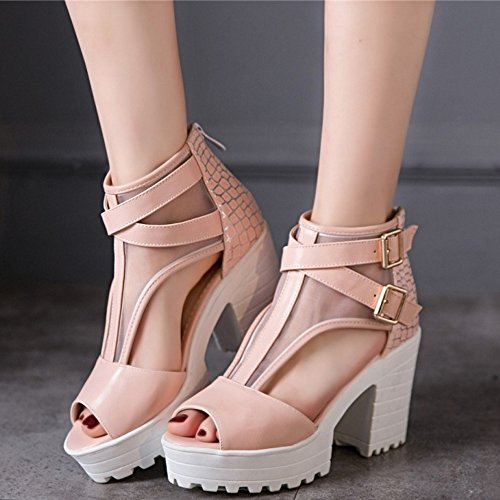 COOLCEPT Damen Mode Ankle Sandalen Peep Toe Blockabsatz Schuhe Mit Zipper Rosa