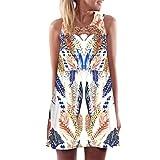 Elecenty Damen Ärmellos Sommerkleid Minikleid Strandkleid Partykleid Rundhals Rock Mädchen Blumen Drucken Kleider Frauen Mode Kleid Kurz Hemdkleid Blusekleid Kleidung (XL, Weiß C)