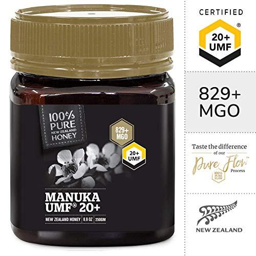 Miel de Manuka 100{8285d819f2ba08b4e2871696d632795108e336c959e974728935813b37368670} pura de Nueva Zelanda - Certificación UMF 20+ (250 g)