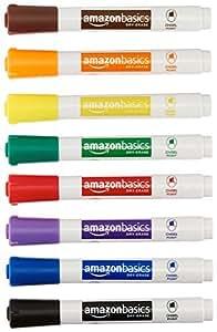 AmazonBasics - Pennarelli cancellabili a secco, inodore, punta a scalpello, confezione da 8, colori assortiti