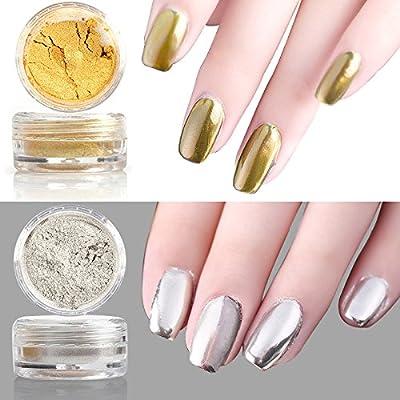 Sindy 2 pcs Mirror Chrome Powder Gold Silver Pigment Nail Glitter Effect Nail Art Shine Manicure Salon Tips 1g/Box (Gold + Silver) with Sponge Stick