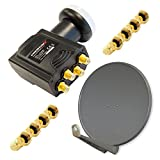 PremiumX DELUXE80 Satellitenanlage für 4 Teilnehmer Offset SAT Antenne 80cm ALU Anthrazit Digitales Quad LNB Signalumsetzer HDTV 4K inkl. 8x F-Aufdrehstecker