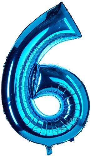 amscan NEU Folienballon Große Zahl 6 blau, 58x88 cm