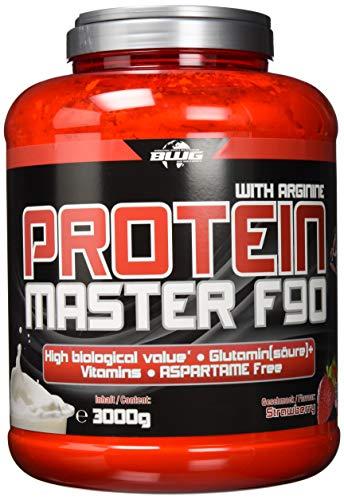 BWG Protein Master F90, Eiweißshake mit BCAA`S und Glutamin, Muskelaufbauphase, Deluxe Proteinshake Strawberry, Dose mit Dosierlöffel, Muscle Line, 1er Pack (1 x 3000g) -