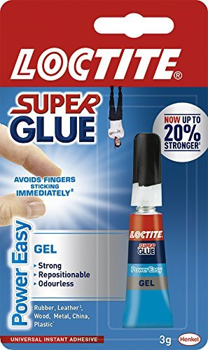 Loctite Super Glue Power Easy Gel/gel Extra Fort anti-goutte Colle pour cuir, caoutchouc, bois, métal, Porcelaine, papier, plastique/1 x 3 G Tube 2-Pack multicolore