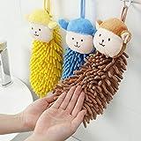 Gaddrt Baby Nursery Hand Towel Chenille Towel Toddler Morbido Peluche Cartoon Animal Wipe Design Squisito Cordino 30x19cm (Brown)