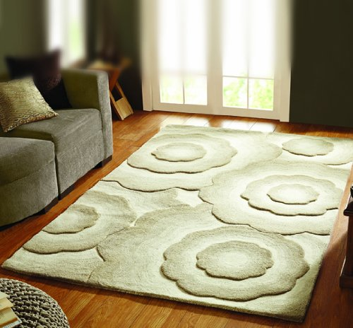 Flair Rugs Textures Realm Wool Blend Hand Carved Rug, Natural, 90 x 150 Cm