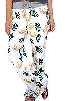 YYear Women's Drawstring Pineapple Printed Drawstring Wide Leg Palazzo Pants White US XS