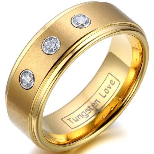 JewelryWe Schmuck 8mm Breite Wolframcarbid Herren-Ring, Partnerringe Hochzeit Engagement Versprechen, Farbe Gold Größe 57 bis - Gold Ring Herren Versprechen