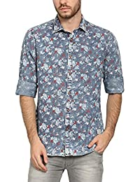 Abof Men Blue Printed Slim Fit Denim Shirt