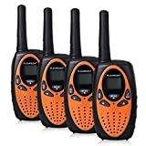FLOUREON 4X Walkie Talkies Radio de 2 Vías Interred de Alcance de 3 Km de 8 Canales, Naranja