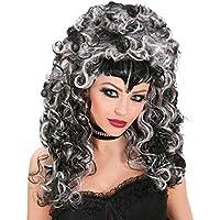 Peluca de bruja gris-noire peluca Vampire noire-blanche peluca bruja peluca de Halloween
