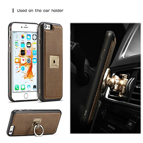 SDDMALL CaseMe Case avec 360 Rotating Finger Ring Stand Design et Magnetic Back Cover pour iPhone 7 ( Color : Coffe ) Brown