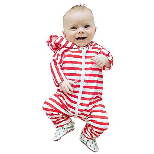 Kleinkind Gestreifte Jumpsuit mit Kapuze MädchenJungen Overall Lange Hülsen Baby Kleidungs (rot, 100)