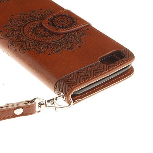 PU IPhone 7 (4.7 pouces) Bookstyle Étui fleurs Fleur Housse en Cuir Case à rabat pour Apple iPhone 7 (4.7 pouces) Coque de protection Portefeuille TPU Case (+Bouchons de poussière) (5) 2