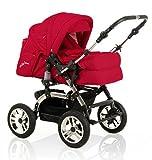 "15 teiliges Qualitäts-Kinderwagenset 2 in 1 ""CITY DRIVER"": Kinderwagen + Buggy - all inclusive Paket in Farbe ROT"