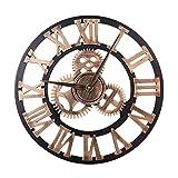 Morza 40cm 3D Zahnrad Design-römische Ziffer Wanduhr Wohnzimmer Hotel-Dekoration Nicht tickt Holz große Uhr