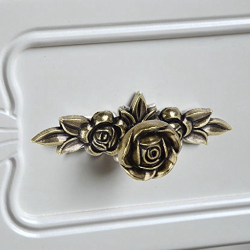 PRIMI Antik Bronze Rose Muster Retro Möbel Schrank Kleiderschrank Schublade ziehen Griff