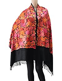 Matelco Women's Woollen Pashmina Embroidered Shawl (AD002ARBK206, Black, Free Size)